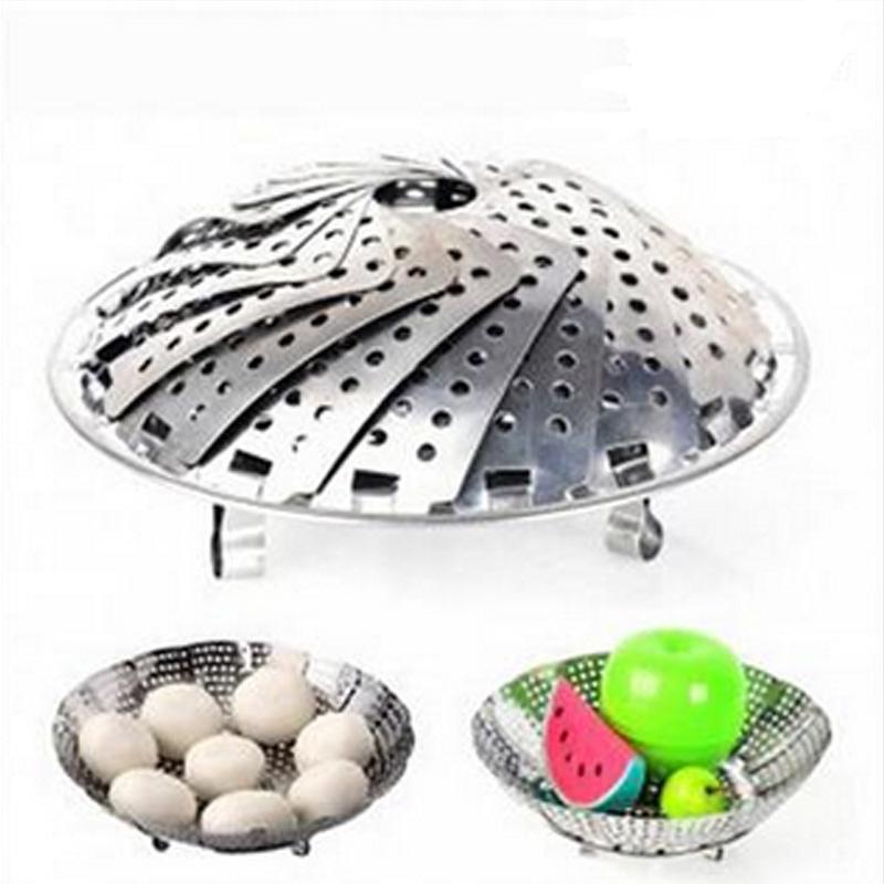 楼龙折叠花式厨房可调节不锈钢蒸笼盘可伸缩多用魔术果盘 中号