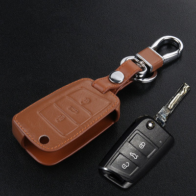 美霸 大众汽车牛皮钥匙包专用于大众新速腾宝来帕萨特