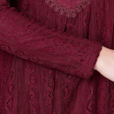 欧缇菲女冬别墅绒加绒中长款打底衫连衣裙麂皮蕾丝工坊石图片